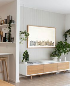 Living in linen 🕊 Tv Feature Wall, Feature Wall Living Room, Living Room Built Ins, Accent Walls In Living Room, Living Room Scandinavian, Scandinavian Apartment, Wood Interior Walls, Living Room Panelling, Living Room Tv Unit Designs