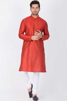 Readymade Cotton,Silk Kurta Pajama In Bright Maroon Disney Wedding Dresses, Eid Dresses, Hijab Bride, Pakistani Wedding Dresses, Pakistani Outfits, Indian Dresses, Pakistani Clothing, Wedding Hijab