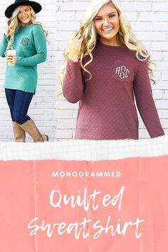 These personalized quilted sweatshirts are a wardrobe must have for all monogram lovers! Available in three different colors, this monogrammed quilted crewneck features a soft, quilted fabric and a faux pocket for your monogram.