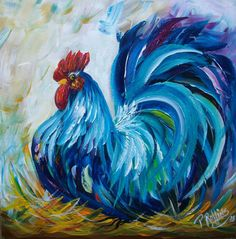 ROOSTER CHICKEN PAINTING 12x12 WOOD ORIGINAL PAT ROLLINS OUTSIDER #Outsider