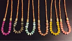 Angelica necklace  colors from left to right: fuchsia , labradorite, amazonite, peach, yellow and coral (currently out of stock)