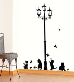 Playful Cats under a Street Lamp Vinyl Wall Decal Home DIY Decor  Price: 7.87 & FREE Shipping  #pets #dog #doglovergifts