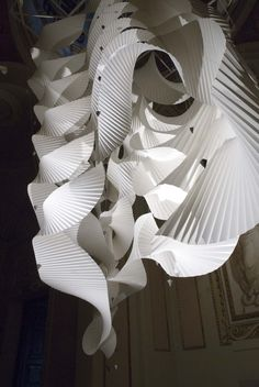 Richard Sweeney - Column Paper, adhesive, nylon, lead. 2.5 x 2.5 x 5 metres. October 6th- November 18th 2012