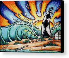 """Drew Brophy Art """"CAPE LOOKOUT LIGHTHOUSE """" S/N Limited edt Canvas 18"""" x 24"""" Edition of 250"""