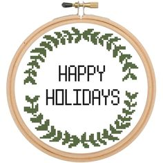 Happy Holidays Leaf Cross Stitch DIY KIT Beginner