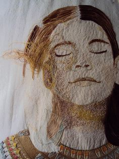 It looks more like a painting, true artist! Contemporary Embroidery, Modern Embroidery, Embroidery Art, Embroidery Stitches, Embroidery Designs, Thread Painting, Thread Art, Art Textile, Textile Artists
