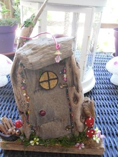 fairy door, house, ooak, miniature, handmade using driftwood, natural items, recycled, xmas gift by jansfabfairies on Etsy