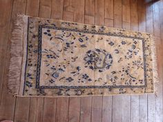Antique French rug carpet handwoven rug 1900s hand woven rug carpet w blue ecru floral design w fringes, French boudoir home decor by…