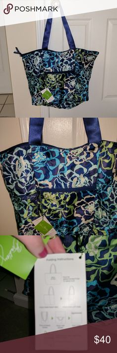 SALE Vera Bradley Tote in a Pouch Katalina Blues No longer sold! Super versatile bag, great for travel, groceries, shopping, etc. Very lightweight and folds up into a small pouch. NO TRADES!! Vera Bradley Bags Travel Bags