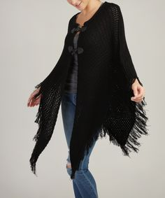 sweater poncho with toggle - wbsweater poncho with toggle - wb, BLACK