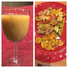 Freshly juiced vegetables (tomato, cucumber, spinach, and garlic) with pink grapefruit, lemon, and lime along with baked plantains, and sautéed potato, mixed colored bell peppers, onions, zucchini, and mushrooms
