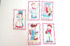 Vintage Toby Jug Cocktail Napkins Set of 5 Linens Bar Ware Colonial Characters