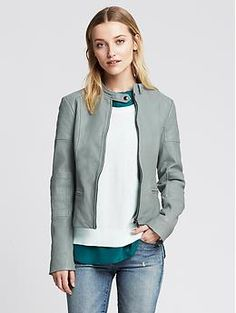 Quilted Blue Leather Moto Jacket | Banana Republic  I still think of this.
