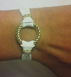 LOVE! White leather and Gold Loop Bracelet by OneSEC on Etsy, $9.95