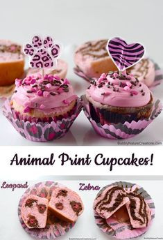 These remind me of you(: Torres Animal Print Cupcakes! {Leopard Cake and Zebra Cake} Ice Cream Cupcakes, Yummy Cupcakes, Party Cupcakes, Cupcake Recipes, Dessert Recipes, Desserts, Cupcake Ideas, Torta Zebra, Mini Cakes