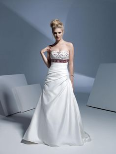 A-Line Straight Neckline Strapless with Empire Waist Embroidery and Ribbons Lace up Taffeta Wedding Dress