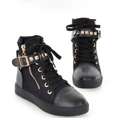 4a248e611cff2 Fashion Rivet Lace-Up Buckle Thick Women s Sneakers Casual Sneakers