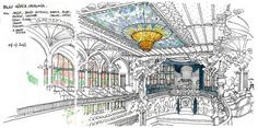 Hand drawing by G. Michel : Barcelone, palais de la Musique Catalane by gerard michel Travel Sketchbook, Art Sketchbook, Islamic Art Pattern, Pattern Art, Painter Artist, Artist Art, Building Illustration, Illustration Art, Perspective Sketch