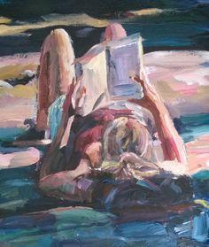 Original Painting, collected artist Samuel Burton woman laid back reading art