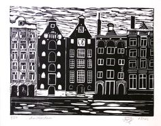 Hand Printed Lino Cut Print  Amsterdam  Limited by LinoPrint, $20.00