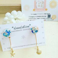 【dandelion_sae】さんのInstagramをピンしています。 《おはようございます * 海の宝石ガラスドームイヤリングが…