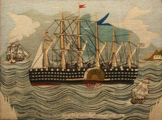 "maritime woolwork picture titled 'Leviathan', the name synonymous with a sea monster, or 'The Great Eastern Steam Ship in 1865""..."