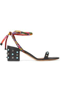 Valentino | Rockstud Rolling embellished leather sandals | NET-A-PORTER.COM