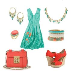 Turquoise & coral..., created by rkimball on Polyvore