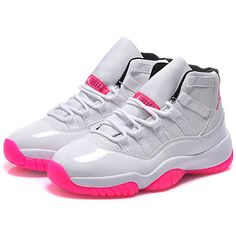 fc8a55f09542e3 Womens Air Jordan 11 GS Pink White Online For Sale ❤ liked on Polyvore  featuring shoes