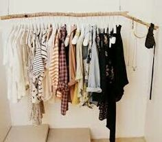 Ideas for clothes hanger diy hanging racks tree branches Clothes Rod, Diy Clothes Rack, Clothing Racks, Clothes Storage, Hanging Racks, Diy Hanging, My New Room, My Room, Student Room