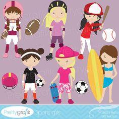 girl sports clipart for scrapbooking, commercial use, vector graphics, digital clip art, digital images, baseball, soccer, skate - PGCLPK51