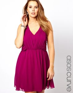 ASOS CURVE Skater Dress With Ruched Bust precisely cut for women of size 20 to 26.