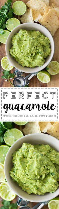 Simple, perfect, homemade guacamole. Perfect for parties, appetizers, or to go with any Mexican meal!  via @nourishandfete
