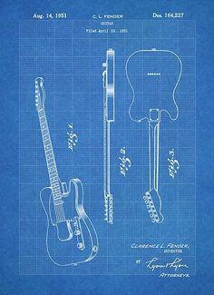 Fender Telecaster Guitar US Patent Art Blueprint