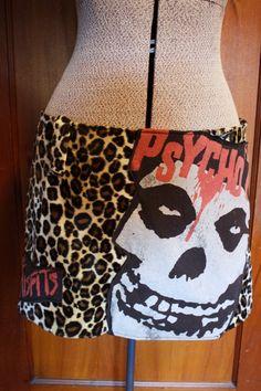 Leopard Upcycled Misfits skirt Punk Rock Deathrock Psychobilly Fashion by CoffinKitsch on Etsy https://www.etsy.com/listing/120082576/leopard-upcycled-misfits-skirt-punk-rock