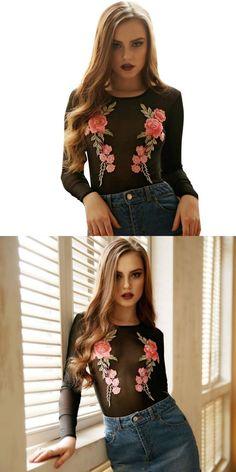 7912030c921 Jumpsuit women elegantes de fiesta long sleeve women s bodysuits  embroidered floral mesh leotard jumpsuit transparent lrew  jumpsuits      rompers  women ...