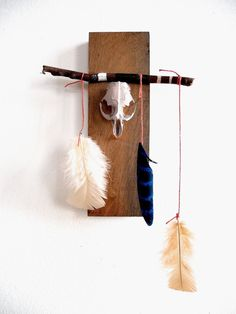 Blue Totem Skull and Feathers on reclaimed wood by MullyBee, $100.00