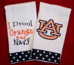 Set of 2 Auburn burp cloths. on Etsy, $15.00