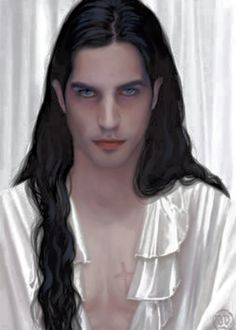 vampire, drawn, cute guy, long hair, black hair, blue eyes, scar