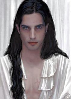 vampire, drawn, cute guy, long hair, black hair, blue eyes, scar
