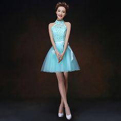 uma linha / princesa gola alta mini vestido curto / dama de honra (068) – EUR € 27.26