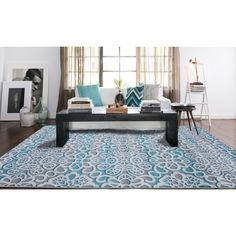 Shop for Modern Floral Blue and Grey Polypropylene Area Rug x Grey Blue rugs for sale - x Get free delivery On EVERYTHING* Overstock - Your Online Home Decor Store! Chandelier In Living Room, Living Room Decor, Patio Rugs, Room Paint Colors, Room Color Schemes, Diy Interior, Cool Rugs, Grey Rugs, Blue Area Rugs