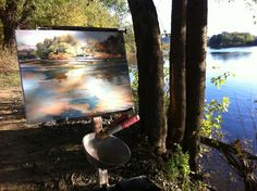Anne Gibson Snyder River painting in progress.