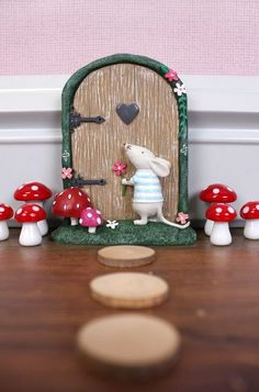 Jones Home and Gift Fairy Door with Marvin Mouse Cardboard Box, Multi-Colour by Jones Home and Gift Fairy Garden Doors, Fairy Doors, Fence Garden, Polymer Clay Fairy, Polymer Clay Projects, Fairy Crafts, Diy And Crafts, Clay Fairies, Miniature Fairy Gardens