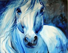 American Art Moves!: GREY GHOST EQUINE 20x16 HORSE ART ORIGINAL OIL PAINTING by MARCIA BALDWIN
