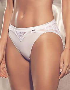 Lace High Leg Knickers with Silk