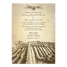 Brown Tuscan Winery Vineyard Wedding Invitations - Each invite features a vintage or rustic parchment background with a a deep brown vineyard field landscape at the bottom. The top has a design of grapes, vines and leaves also in brown. Found: http://www.zazzle.com/brown_tuscan_winery_vineyard_wedding_invitations-161541694214948536?design.areas=%5b5x7_front_full_vert%2c5x7_back_full_vert%5d=238473901001614851