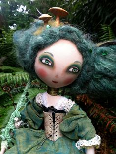Forest Sprite OOAK posable Art Doll in mossy by AmandaSueMyers