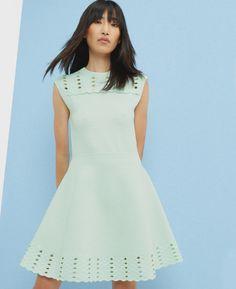 Jacquard cut-out skater dress