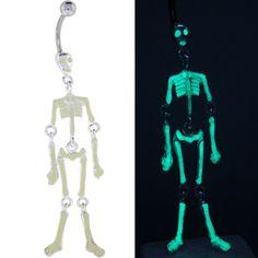glow in the dark skeleton halloween belly button ring